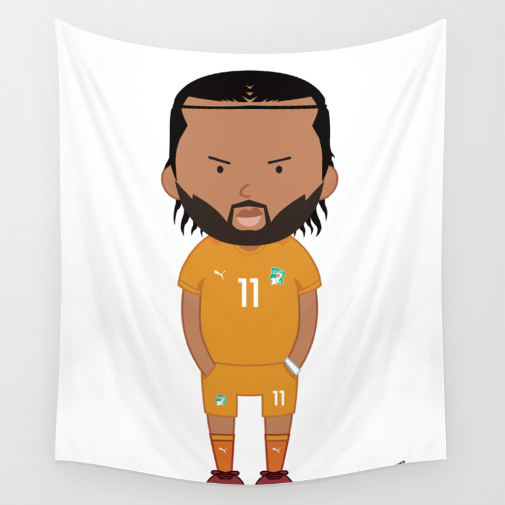 Didier Drogba - Ivory Coast - World Cup 2014 Wall Tapestry by Toonsoccer TPS9022451