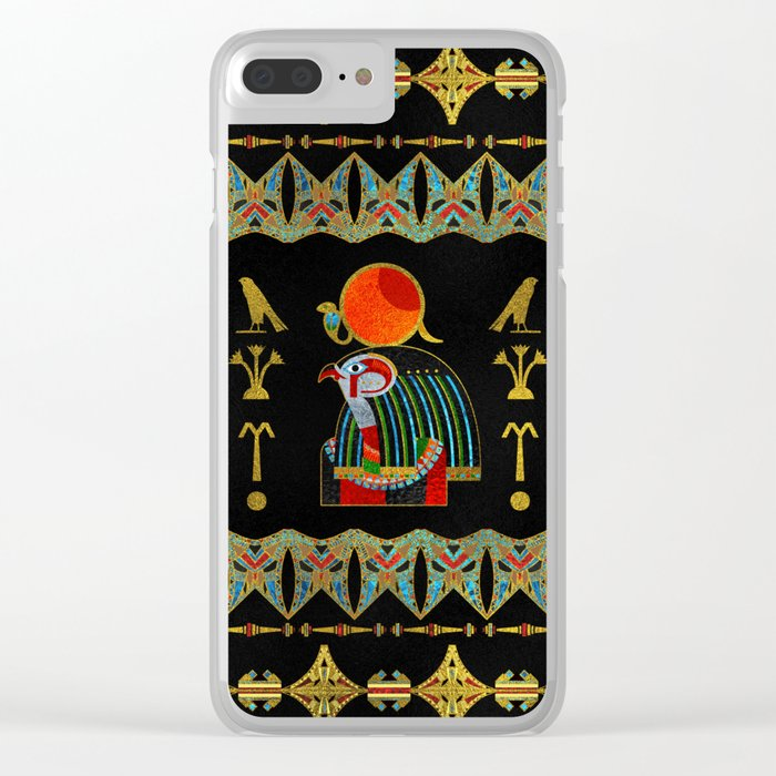 Egyptian Horus Ornament in colored glass and gold Clear iPhone Case