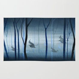 Witches Flying Low Through the Woods Rug
