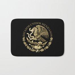 Mexican flag seal in sepia tones on black bg Bath Mat
