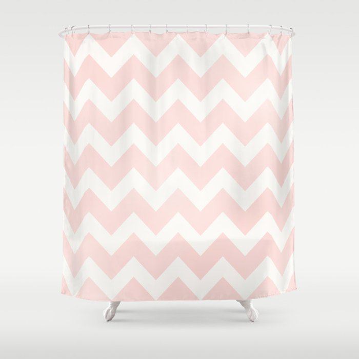 Pink Coral Chevron Shower Curtain