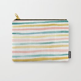 Pink, Teal, and Gold Stripes Carry-All Pouch