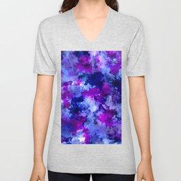 Modern blue purple watercolor brushstrokes paint Unisex V-Neck