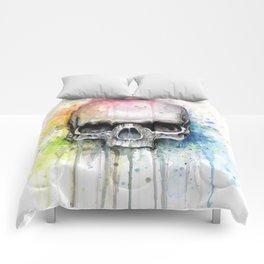 Skull Rainbow Watercolor Painting Skulls Comforters