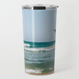 Gull Flight Over Lake Michigan Travel Mug