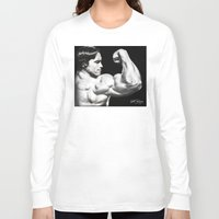 arnold Long Sleeve T-shirts featuring Flexing Arnold by PeterPerlegas Fine Art