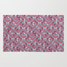 Geometric Labyrinth Red And Blue Rug