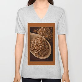 Brown flax seeds portion on wooden spoon Unisex V-Neck