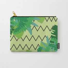Tropical Leaves on Zig- Zag Background Carry-All Pouch