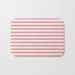 Mattress Ticking Wide Striped Pattern in Red and White Bath Mat