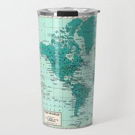World Map in Teal Travel Mug