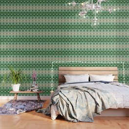 Boujee Boho Green Lace Geometric Wallpaper