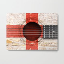 Old Vintage Acoustic Guitar with English Flag Metal Print