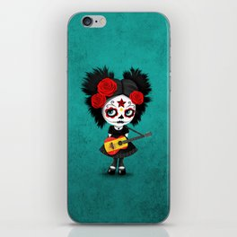 Day of the Dead Girl Playing Spanish Flag Guitar iPhone Skin