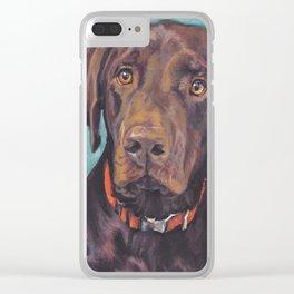 Chocolate lab LABRADOR RETRIEVER dog portrait painting by L.A.Shepard fine art Clear iPhone Case