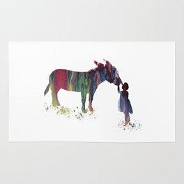 donkey and child art Rug
