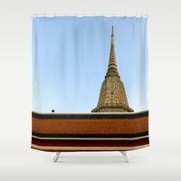 thailand Shower Curtains featuring temple in thailand by habish