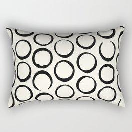 Polka Dots Circles Tribal Black and White Rectangular Pillow