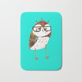 Cool Owl by Ashley Percival. Bath Mat