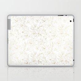 Elegant simple modern faux gold white floral Laptop & iPad Skin