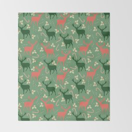 Hand painted Christmas green coral deer candy pattern Throw Blanket