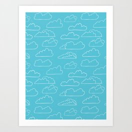 Hand drawn vector cloud illustration Art Print