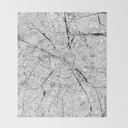 Paris White Map Throw Blanket