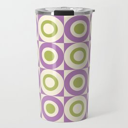 Mid Century Square and Circle Pattern 541 Lavender and Chartreuse Travel Mug