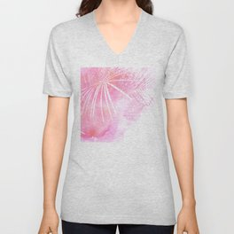 Abstract Pink Palm Tree Leaves Design Unisex V-Neck