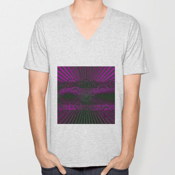 Wild Emerald Green Purple Circle 3D Abstract Unisex V-Neck