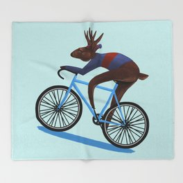 'Tis the season to be cycling Throw Blanket