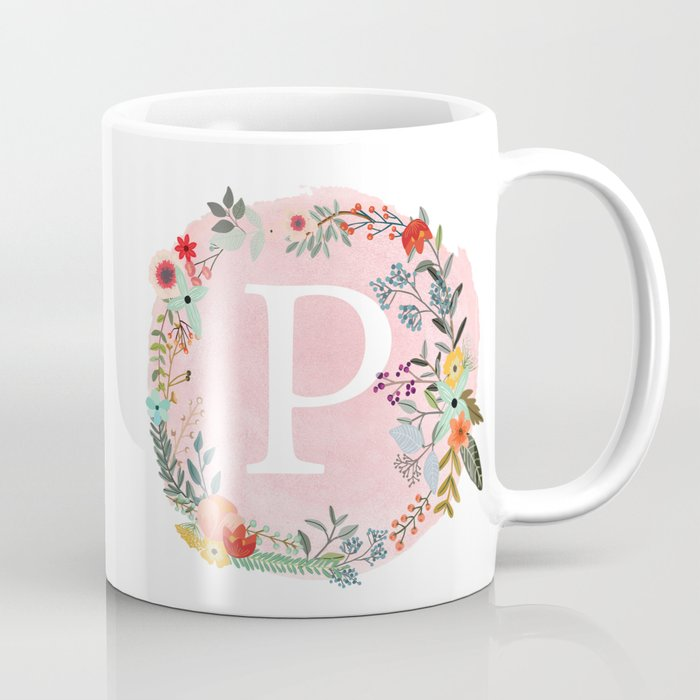 flower wreath with personalized monogram initial letter p on pink