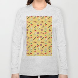 Modern yellow red fruit pizza sweet donuts food pattern Long Sleeve T-shirt