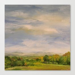 Scenic Autumn Late Afternoon in Vermont Nature Art Landscape Oil Painting Canvas Print