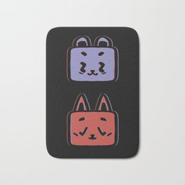 Animals pattern bear and cat graphic illustration black background Bath Mat