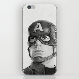 Portrait Drawing of Capt. America iPhone Skin