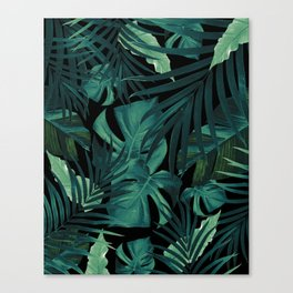 Tropical Jungle Night Leaves Pattern #1 #tropical #decor #art #society6 Canvas Print