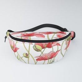 Red Poppies, Illustration Fanny Pack