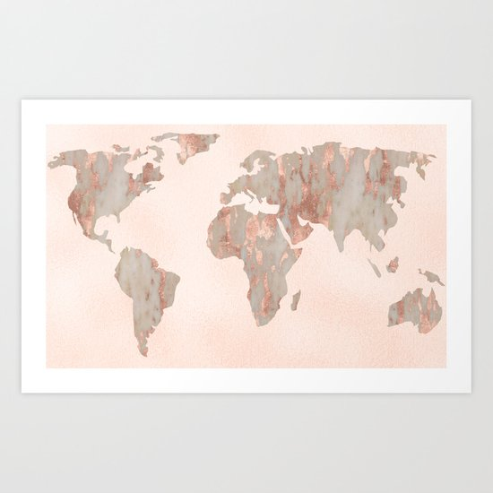 rosegold marble map of the world art print by mapmaker society6