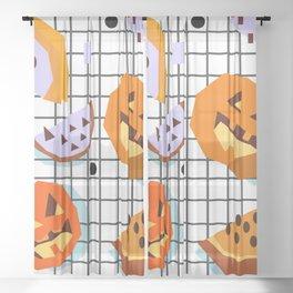 Happy Halloween Pumpkins Sheer Curtain