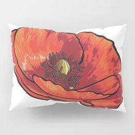 Orange Poppy Flower Pillow Sham