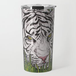 White tiger in wild grass Travel Mug