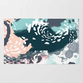 August - Abstract modern painting in bold colors for trendy feminine style Rug