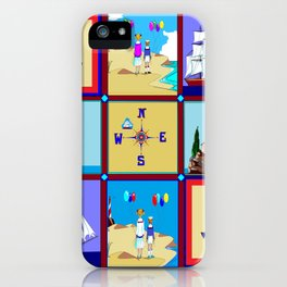 Another Nautical Quilt but with Compass Rose iPhone Case