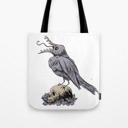 Black Bird on Skull Tote Bag