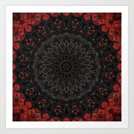 Red and Black Bohemian Mandala Design Art Print
