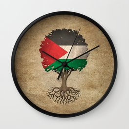 Vintage Tree of Life with Flag of Palestine Wall Clock