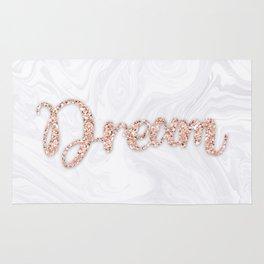 Dream Rose Gold Glitter on White Marble Rug