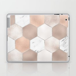 Rose pearl and marble hexagons Laptop & iPad Skin