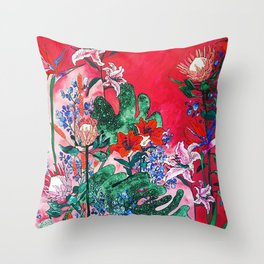 Ruby Red Floral Jungle Throw Pillow